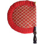 Red Punjabi Pakhi Embroidered Traditional Hand Fan T0245