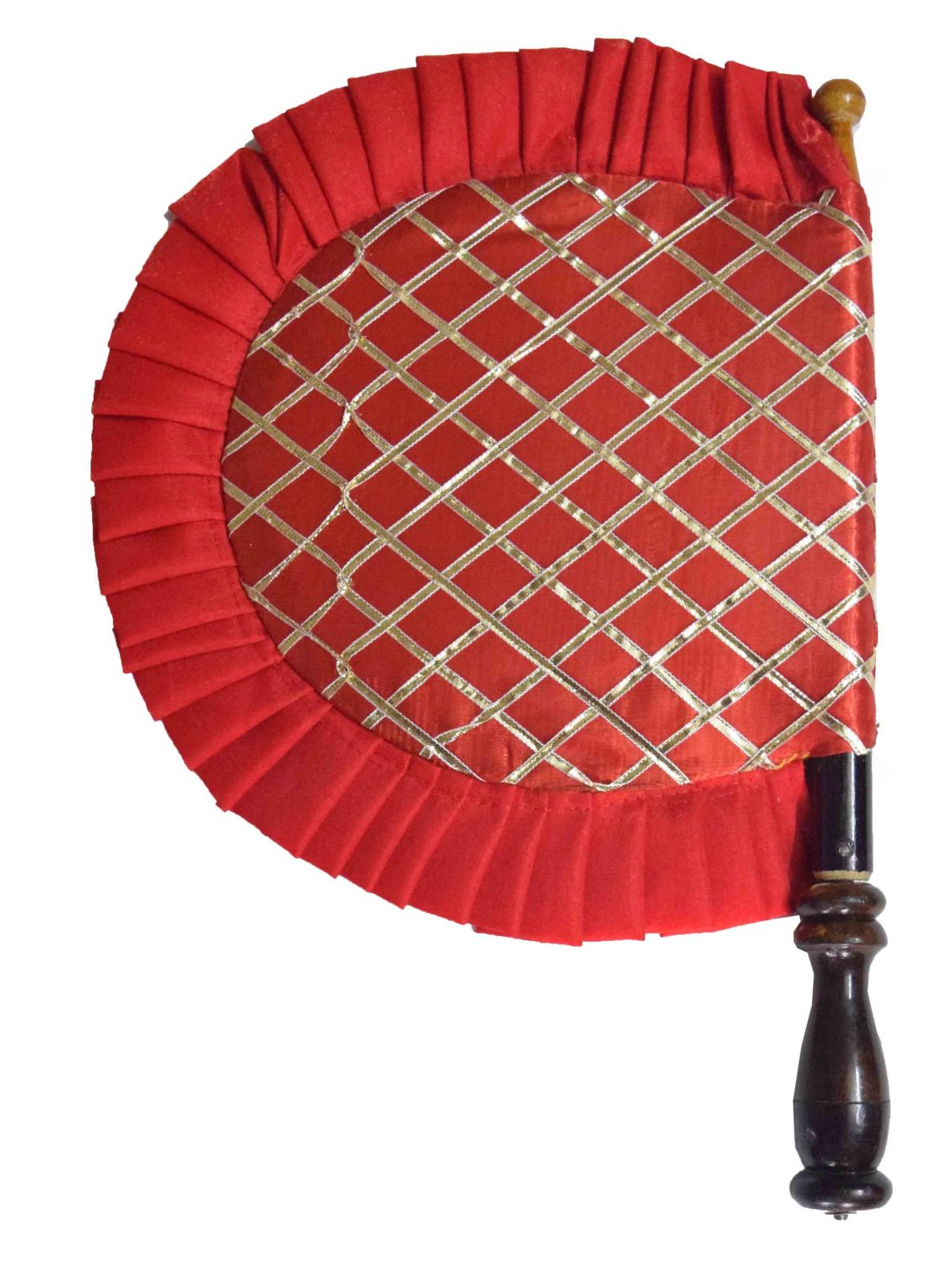 Red Punjabi Pakhi Embroidered Traditional Hand Fan T0245 1