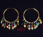 Traditional Punjabi Gold Polished Ear Rings Bali Moti Patti Set J0214