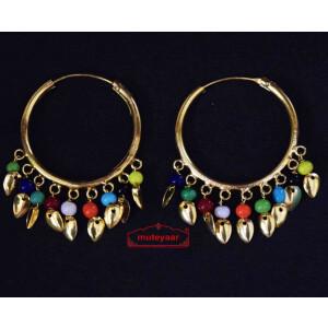Traditional Punjabi Gold Polished Ear Rings Bali Moti Patti Set J0214 – multicolour