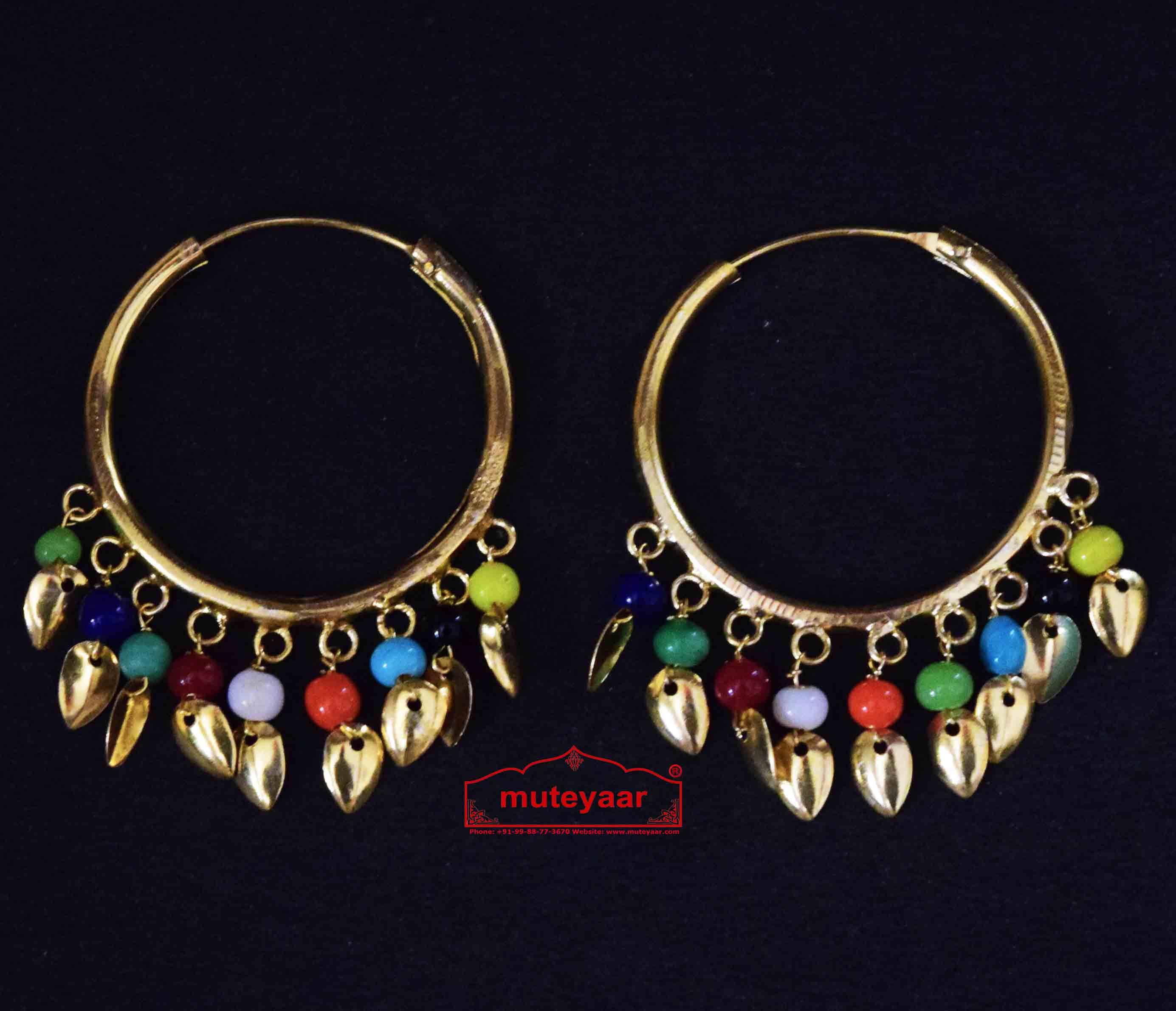 Traditional Punjabi Gold Polished Ear Rings Bali Moti Patti Set J0214 3