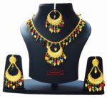 Gold Polished Punjabi Traditional Pendant Chain Earrings Tikka set J0439