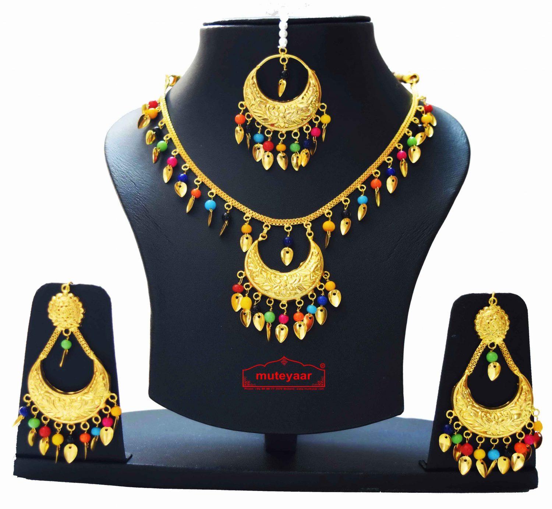 Gold Polished Punjabi Traditional Pendant Chain Earrings Tikka set J0439 1