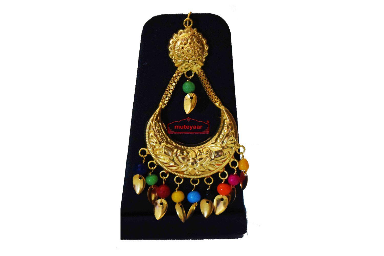 Gold Polished Punjabi Traditional Pendant Chain Earrings Tikka set J0439 2