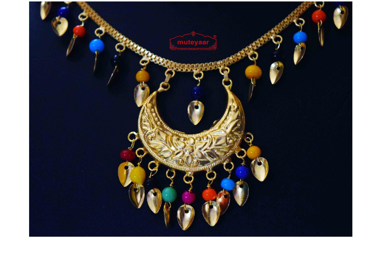 Gold Polished Punjabi Traditional Pendant Chain Earrings Tikka set J0439 3