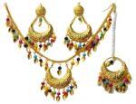 Gold Polished Punjabi Traditional Pendant Chain Earrings Tikka set J0439