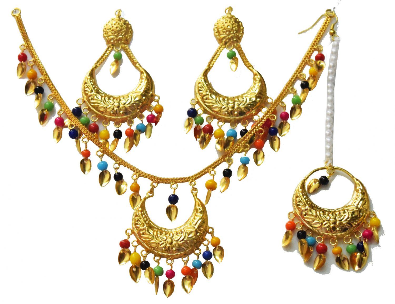 Gold Polished Punjabi Traditional Pendant Chain Earrings Tikka set J0439 4