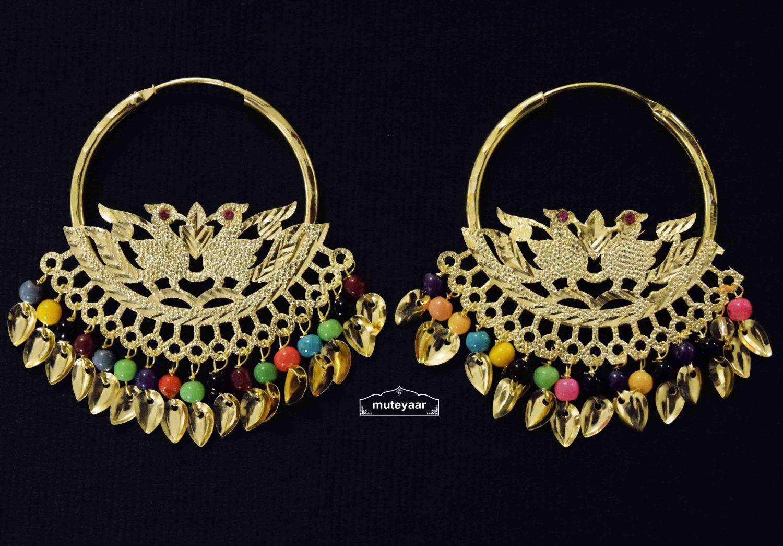 Multicolour Beads Morni Bali with Patti Hangings J0501 1