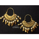 Cute Golden Bali Earrings with beads and Patti J0504