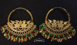 Morni Bali Earrings with Maroon Green Moti Beads J0506