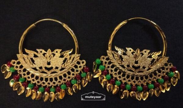 Morni Bali Earrings with Maroon Green Moti Beads J0506