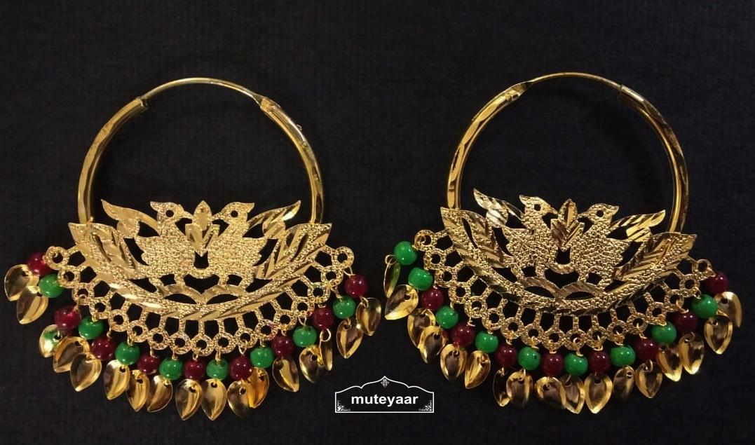 Morni Bali Earrings with Maroon Green Moti Beads J0506 1