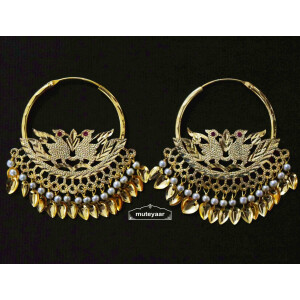 White Moti Beads Morni Earrings Punjabi Jewellery J0507