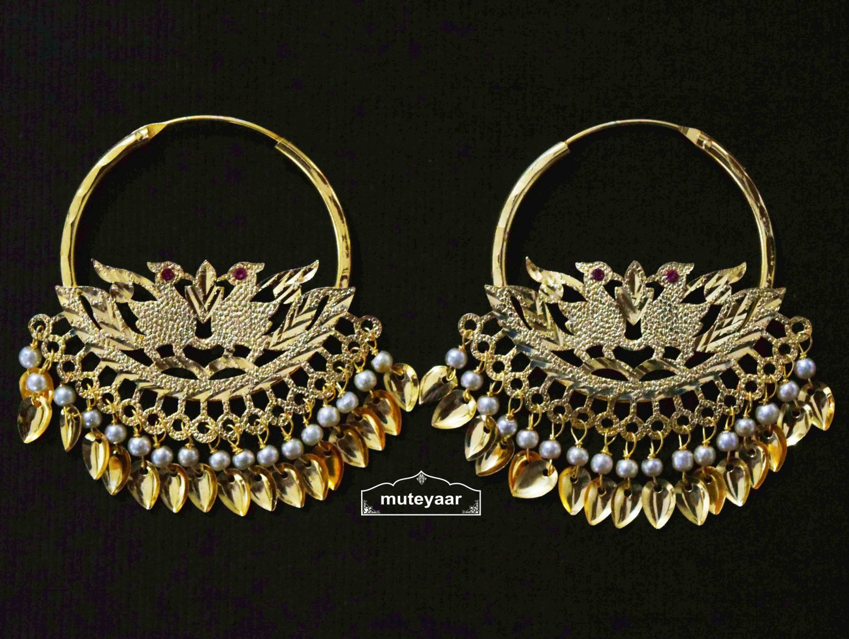 White Moti Beads Morni Earrings Punjabi Jewellery J0507 1