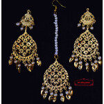 Golden Punjabi Tikka Earrings Set J0511