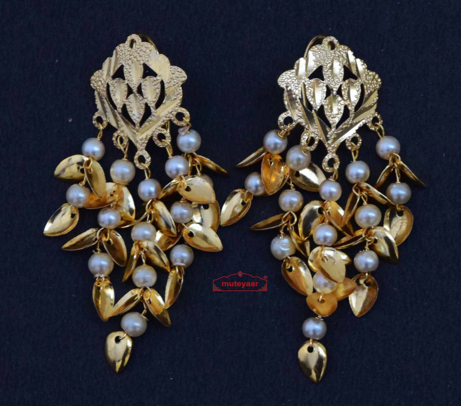 Jhallar Tops Earrings with Golden Polish J0508 1