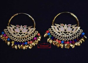 Jadau Morni Bali with Multicolour Beads J0510