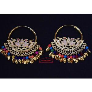 Jadau Morni Bali with Multicolour Beads J0510