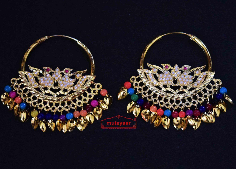 Jadau Morni Bali with Multicolour Beads J0510 1