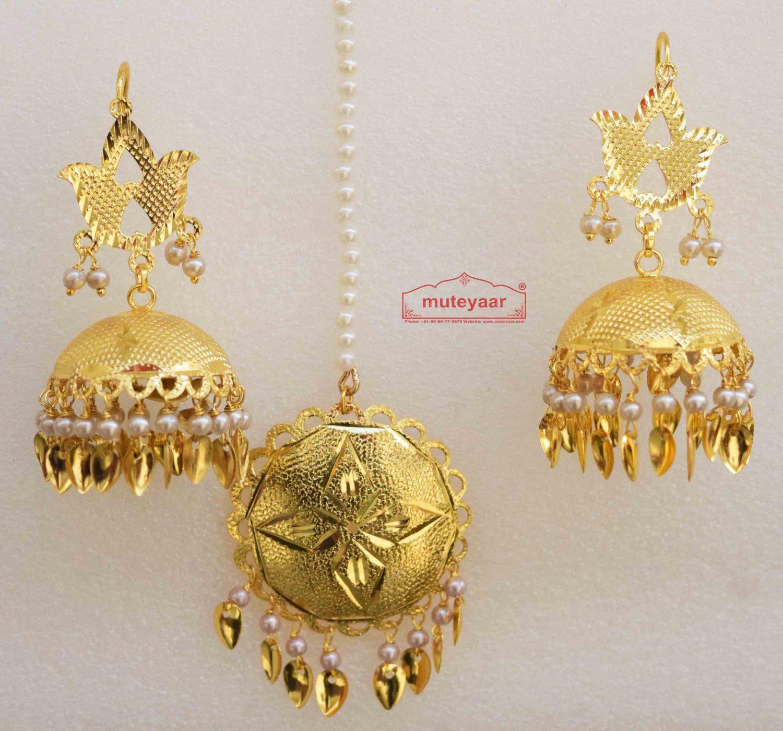 Golden katori Lotan Tikka Earrings Set J0515 1