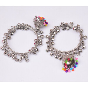 Silver Ghungroo Bangles with Lotan Jhumki BN167