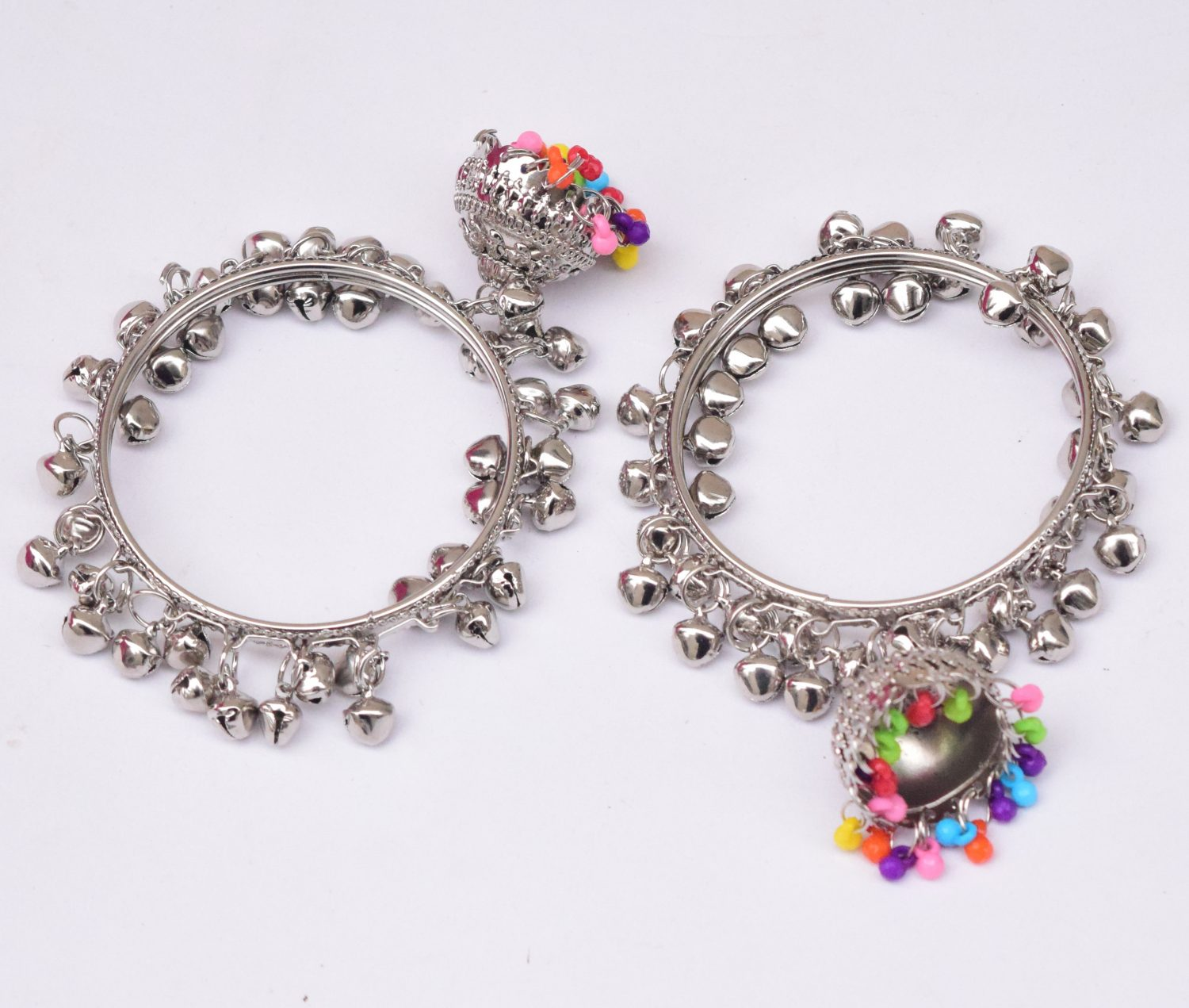 Silver Ghungroo Bangles with Lotan Jhumki BN167 1