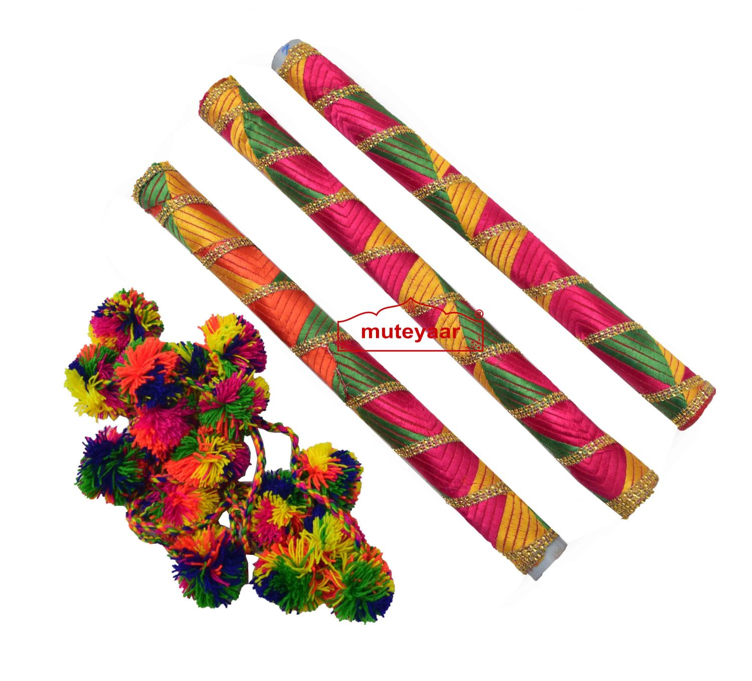 Danda for Jago with Phulkari Decoration (Folding Light Weight Plastic) 2