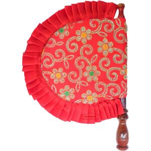 Red Pakhi Eambroidered Punjabi Hand Fan T0246