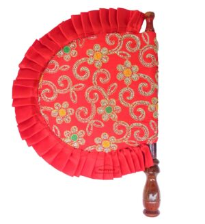 Red Pakhi Eambroidered Punjabi Hand Fan T0246