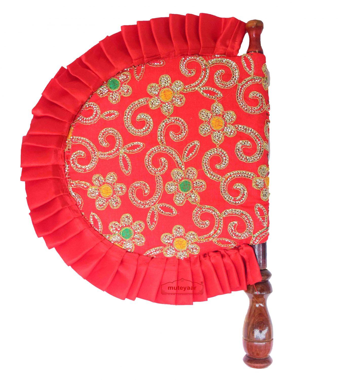 Red Pakhi Eambroidered Punjabi Hand Fan T0246 1