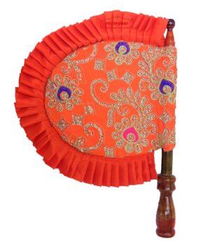 Orange Embroidered Hand Fan Punjabi Pakhi T0247