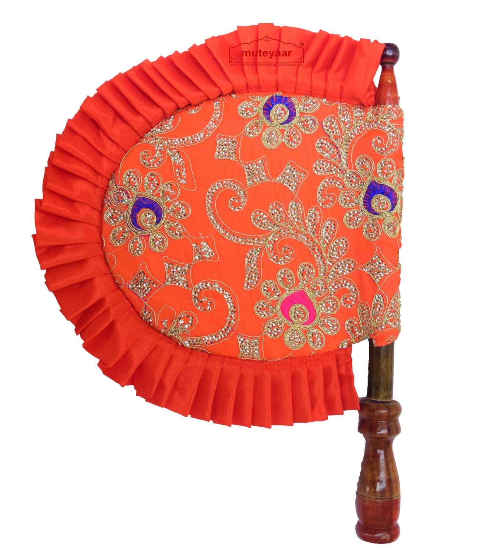 Orange Embroidered Hand Fan Punjabi Pakhi T0247 1