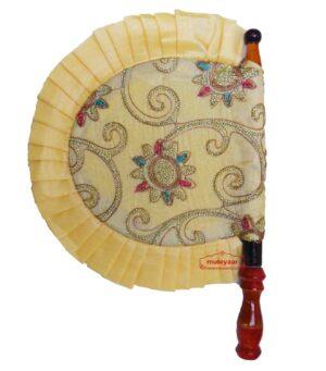 Cream Embroidered Punjabi Pankhi hand Fan T0248