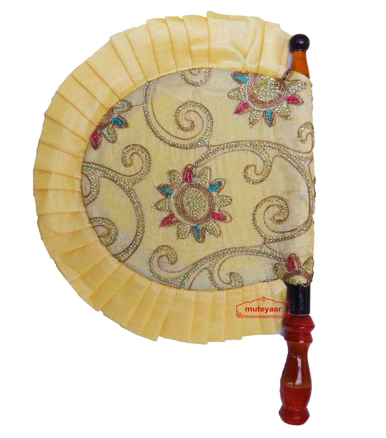 Cream Embroidered Punjabi Pankhi hand Fan T0248 1