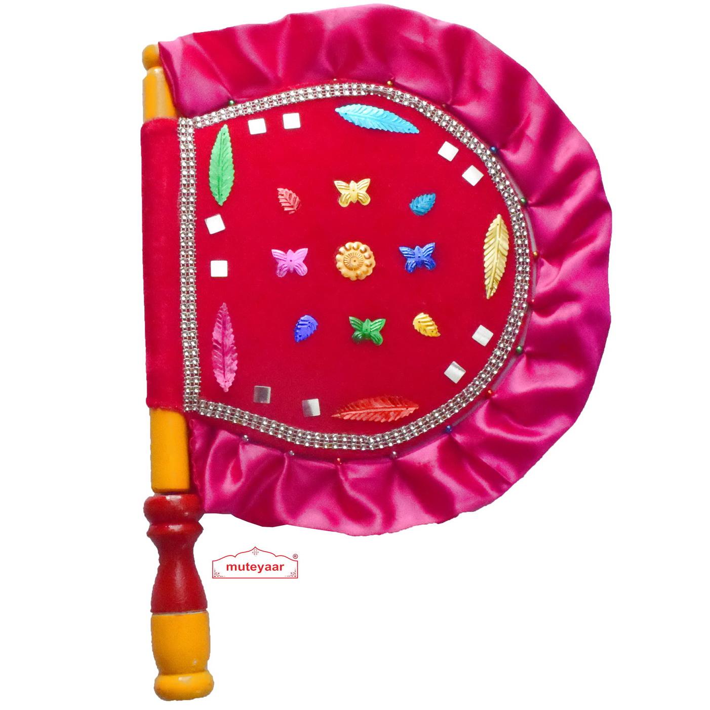 Pink Punjabi Pakhi Hand Fan T0251 1