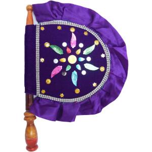 Traditional hand fan Pankha in purple Colour T0253