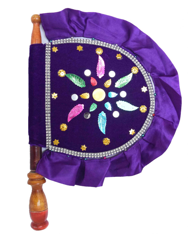 Traditional hand fan Pankha in purple Colour T0253 1