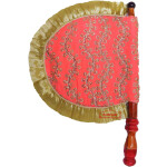 Peach Embroidered Traditional Punjabi Pakhi Hand Fan T0255