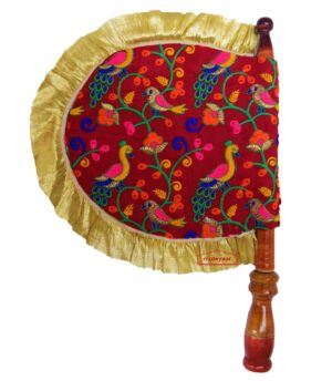 Red Peackock Design Embroidered Pakhi Hand Fan T0257