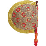 Golden Pakhi Embroidered Traditional Punabi Hand Fan T0258