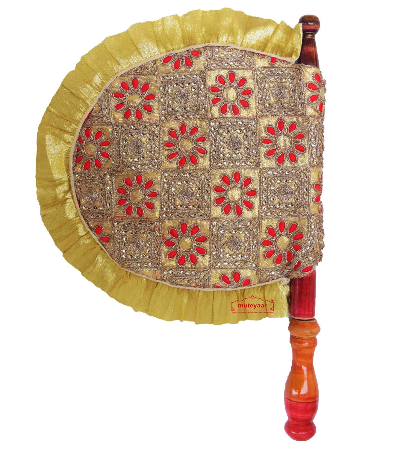 Golden Pakhi Embroidered Traditional Punabi Hand Fan T0258 1