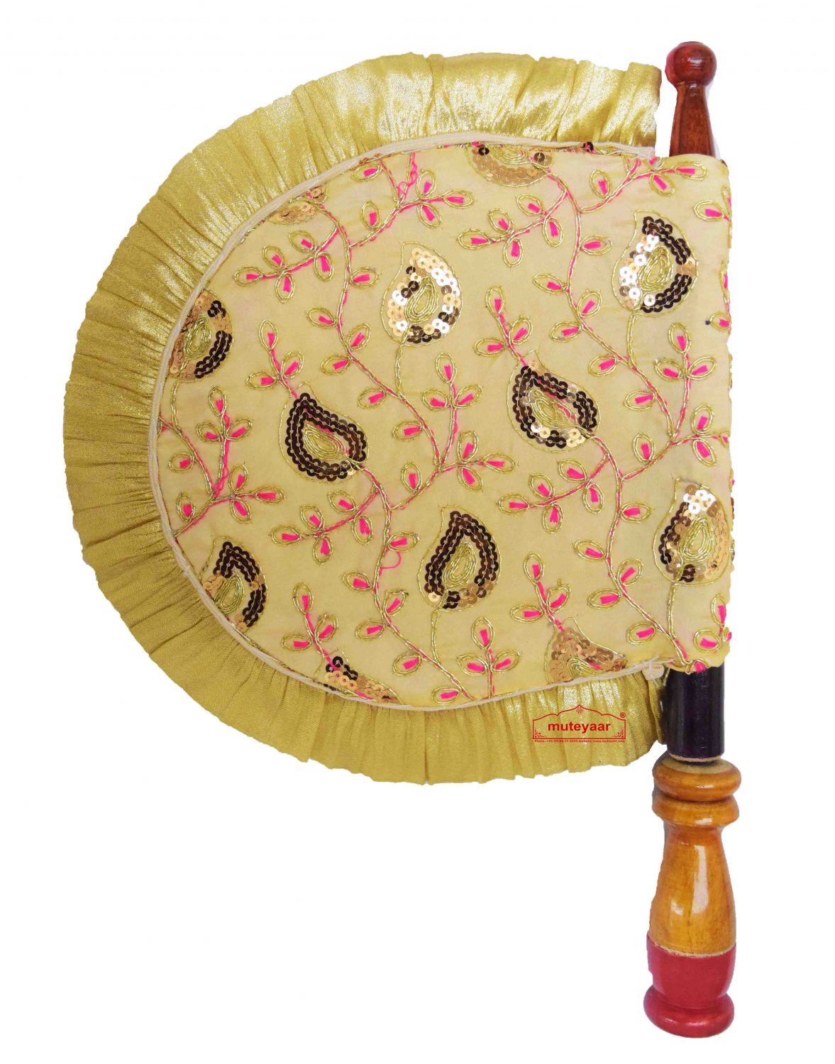 Golden Sequins Embroidered Pakhi Hand Fan T0259 1