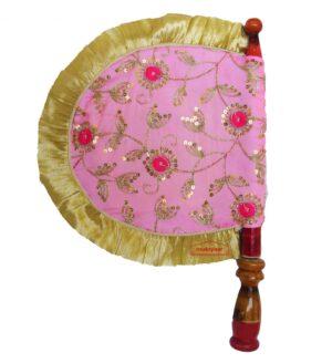 Pink Embroidered Hand Fan Punjabi Pakhi T0260