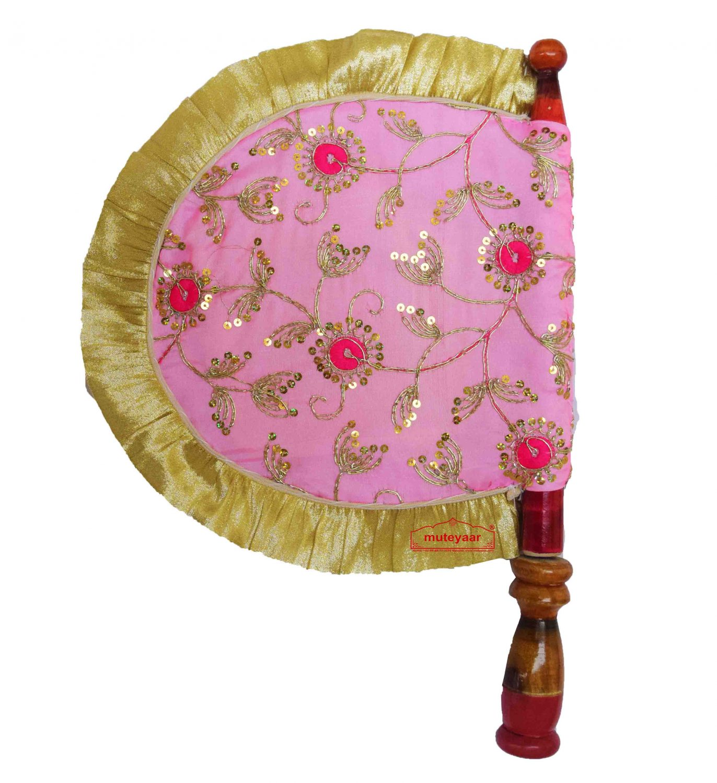 Pink Embroidered Hand Fan Punjabi Pakhi T0260 1