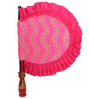 Pink Hand Fan Embroidered Punjabi Pakhi T0262