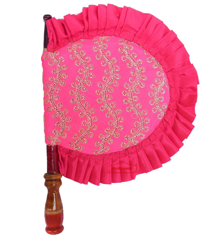 Pink Hand Fan Embroidered Punjabi Pakhi T0262 1