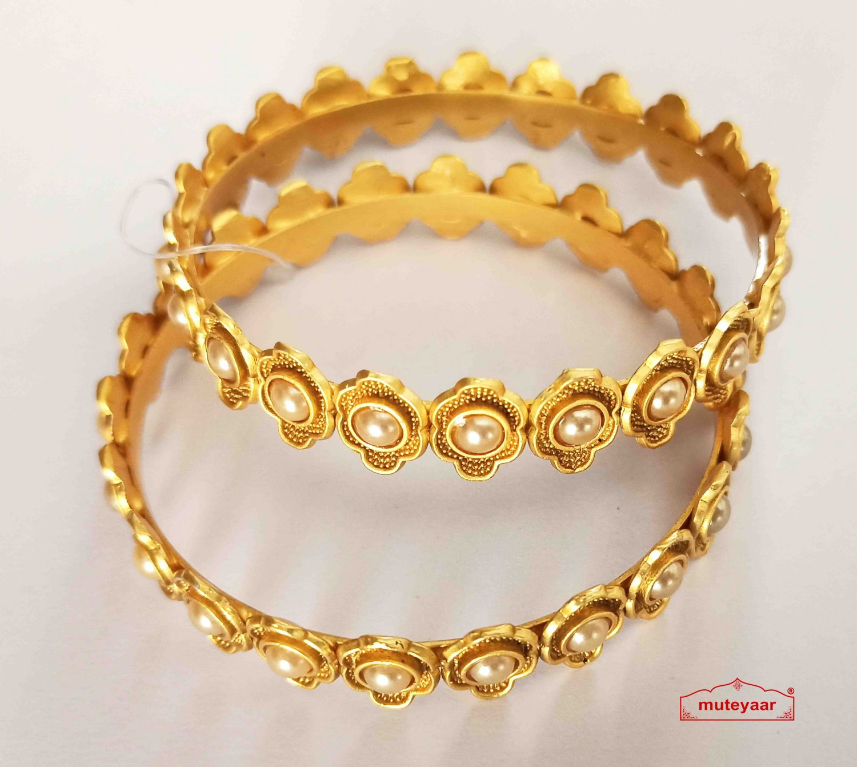 Golden Pearl Designer Bangles set BN168 1