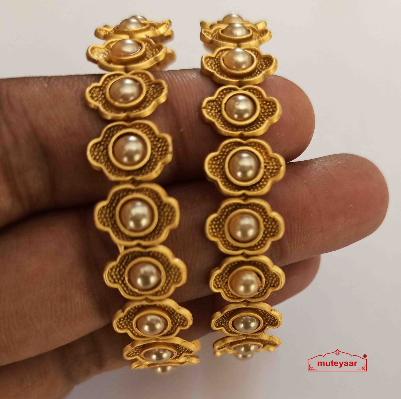 Golden Pearl Designer Bangles set BN168 2