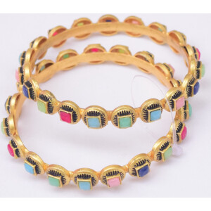 Golden Bangles with Multicolour Studs BN170