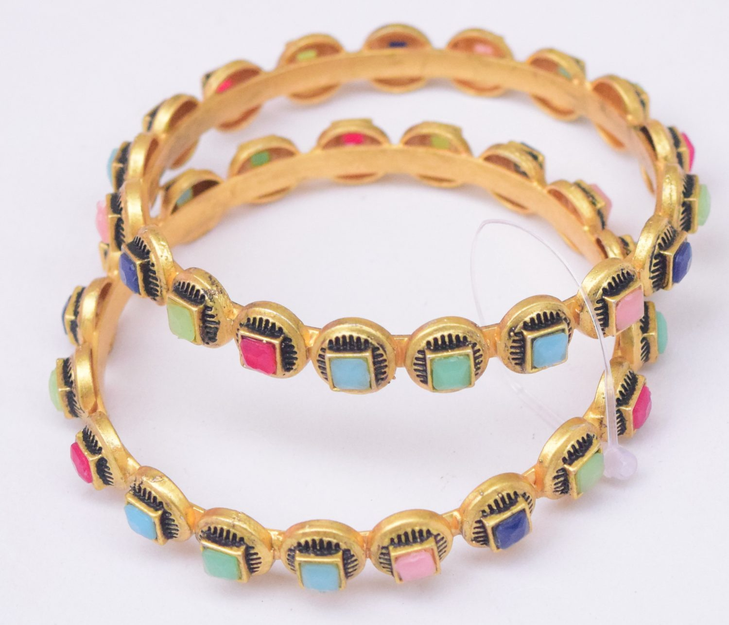Golden Bangles with Multicolour Studs BN170 1
